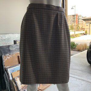 Aquascutum Classic Club Check Skirt Navy+Tan Sz10